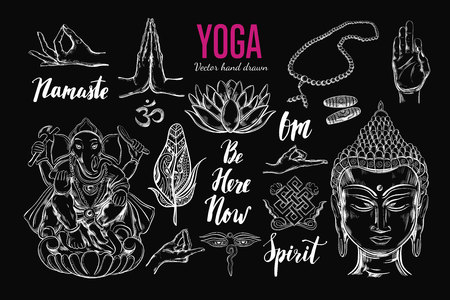 Yoga set. Vector Isolated hand drawn objects. Spiritual Symbols of Buddhism, Hinduism. Tattoo design , yoga, boho print, poster. Inspirational calligraphy, lettering
