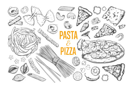 Pasta and Pizza set. Italian Food. Vector hand drawn isolated objects.