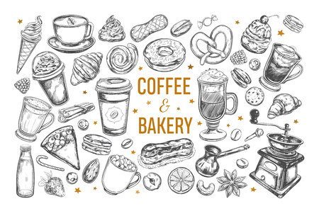 Coffee and Bakery set. Vector hand drawn isolated objects.