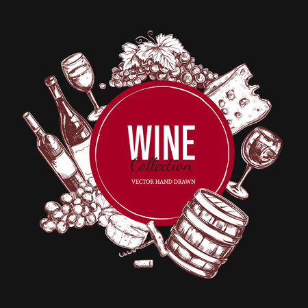 Vector hand drawn elements about wine over black background