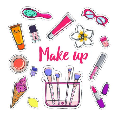Fashion and beauty vector stickers icon.