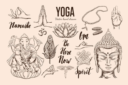 Yoga set. Vector Isolated hand drawn