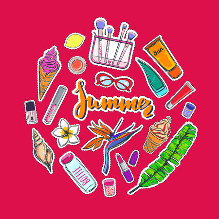 Fashion vector stickers, patches, pins. Summer collection of make up and cosmetics tools. Cartoon style