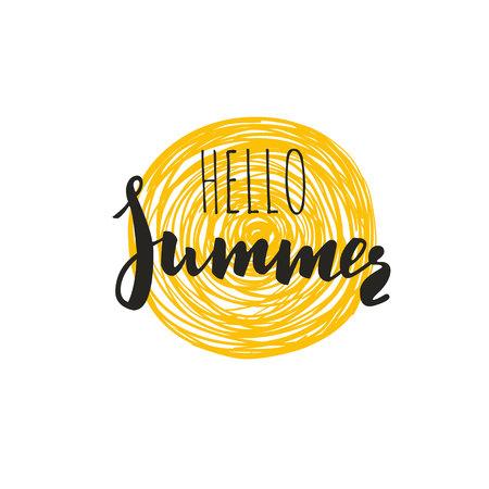Hello Summer. Vector Inspirational 5 Illustration