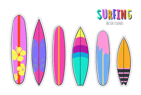 Vector hand drawn set of Surfboards illustration.