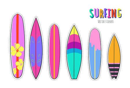 Vector hand getrokken set van surfplanken illustratie. Vector Illustratie