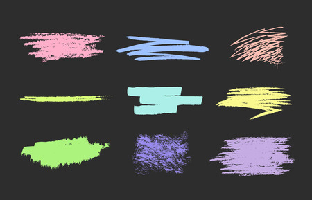 Set of vector scribble, smears pastel