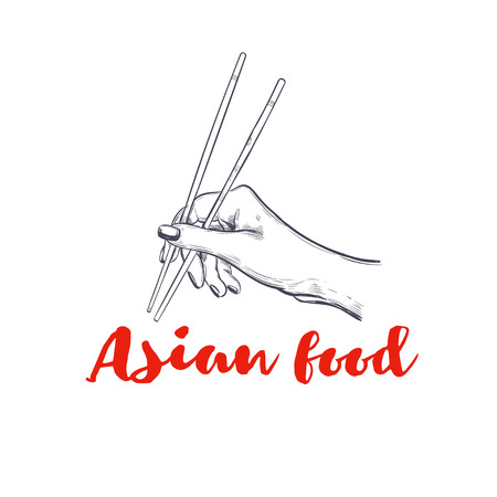 Chopsticks for sushi. Vector hand drawn logo for asian food.