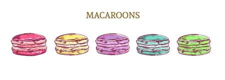 Vector colorful macaroon almond cakes. Sketch style isolated objects