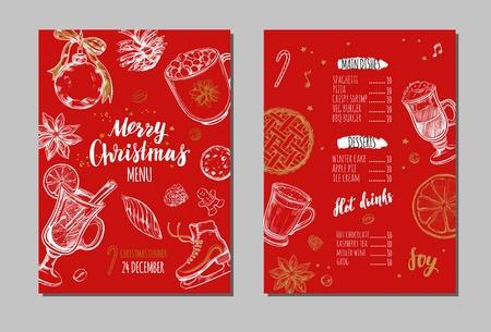 Merry Christmas festive Winter Menu. Design template 1 Stock Photo
