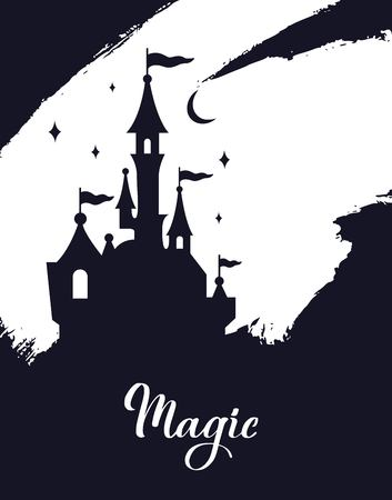 Fairy tale vector Castle silhouette . Wizard world.  イラスト・ベクター素材