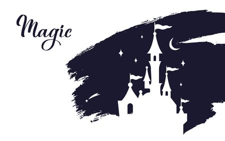 Fairy tale vector Castle silhouette . Wizard world. 写真素材 - 127292690