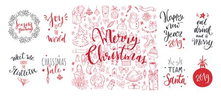 Merry Christmas and New Year words on Christmas tree decoration. Vector hand drawn Lettering 写真素材 - 125423307