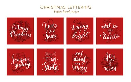 Christmas and New Year posters and labels vector collection. Merry Christmas handwritten Lettering 写真素材 - 125423325