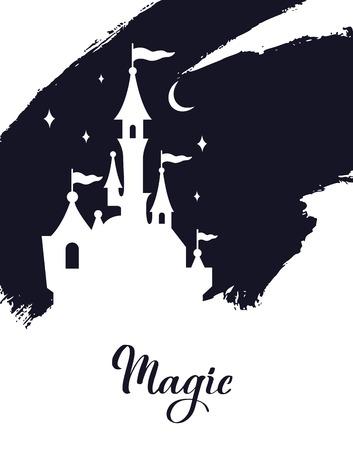 Fairy tale vector Castle silhouette . Wizard world. 写真素材