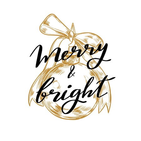 Merry Christmas and New Year words on Christmas tree decoration. Vector hand drawn 写真素材
