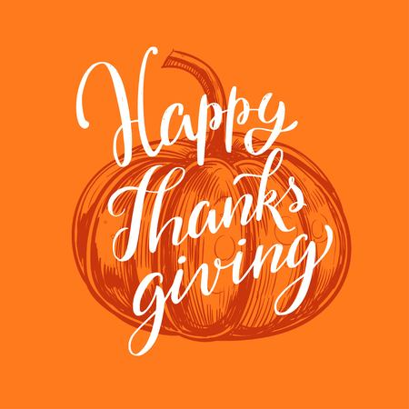 Happy Thanksgiving day. Lettering Concept. Vector hand drawn Calligraphy card  イラスト・ベクター素材