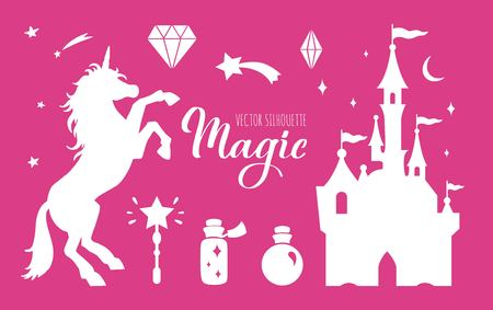 Fairy tale vector silhouette collection with Unicorn and Castle and other elements of Wizard world  イラスト・ベクター素材