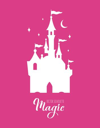Fairy tale vector silhouette collection with Unicorn and Castle and other elements of Wizard world