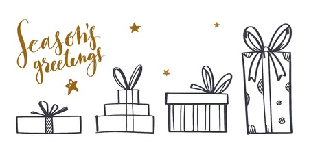 Set of vector hand drawn gift boxes. Doodle style with Christmas calligraphy