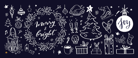 Big set of Christmas design doodle elements with Merry Christmas and New Year