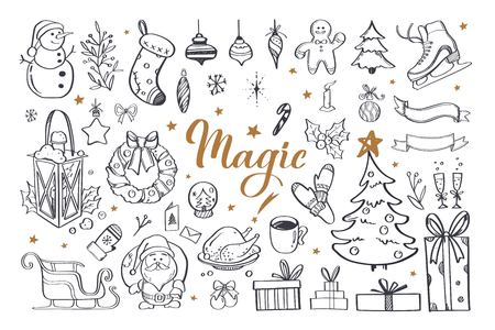 Big set of Christmas design doodle elements with Merry Christmas and New Year Lettering