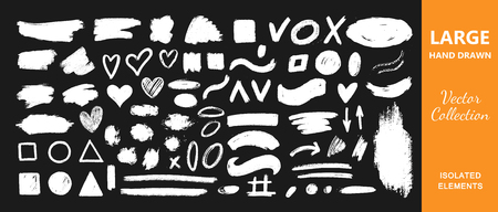 Vector collection of ink, grunge, dirty brush, black paint, strokes. Hand drawn