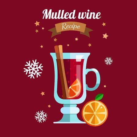Mulled wine vector illustration . Winter season hot drink
