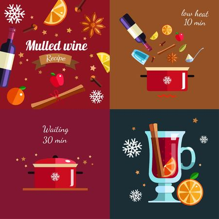 How to make Mulled wine infographic concept. Winter season Hot drink recipe. Vector illustration in Flat style. Isolated objects. Christmas and New Year menu template