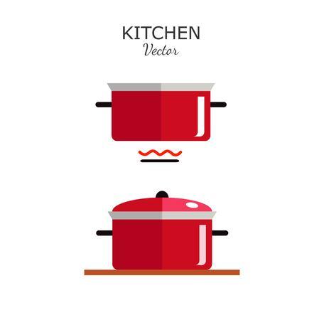 Pot flat style icon. Vector illustration. Kitchen utensil  イラスト・ベクター素材