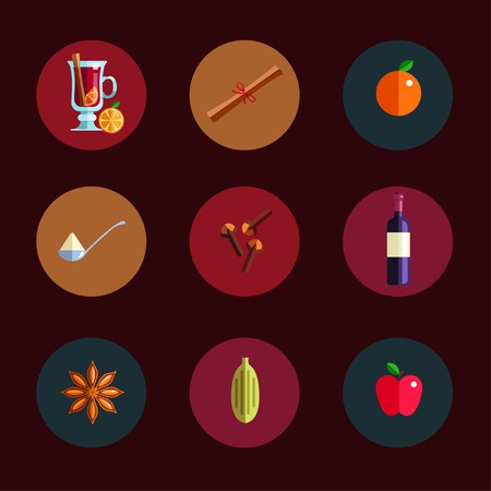 Mulled wine infographic concept. Winter season Hot drink icons. Vector illustration in Flat style. Isolated objects. Christmas and New Year menu template  イラスト・ベクター素材