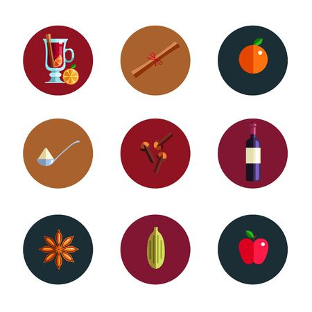 Mulled wine infographic concept. Winter season Hot drink icons. Vector illustration in Flat style. Isolated objects. Christmas and New Year menu template Illustration