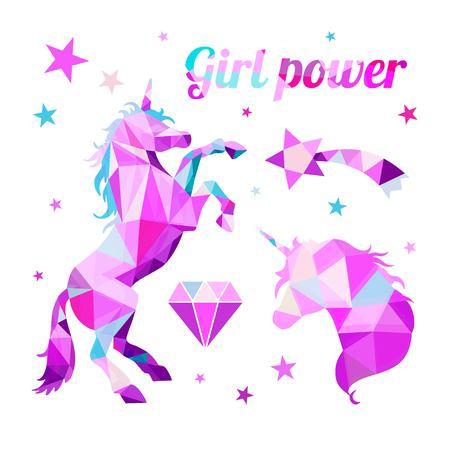 Girl Power-Feminism motivational slogan. Geometric Low Poly style