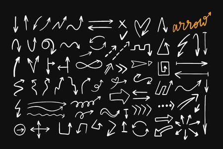 Doodle style hand drawn vector arrows set.