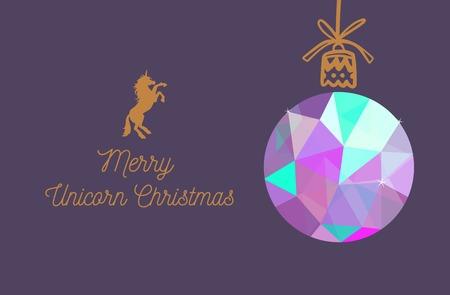 Merry Unicorn Christmas vector card. New Year and Christmas