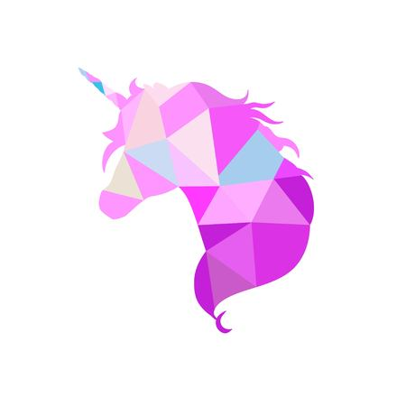 Magic Unicorn silhouette collection in low poly style
