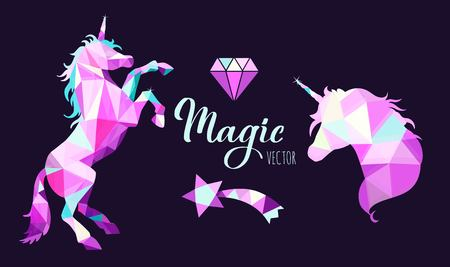 Fairy tale vector geometric Low Poly style collection with Unicorns and other elements of Wizard world