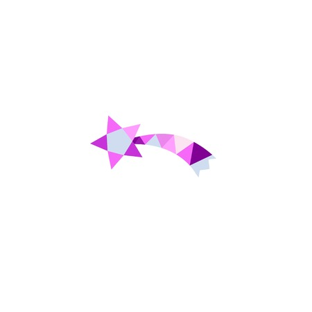 Falling star icon in Low Poly style . Vector