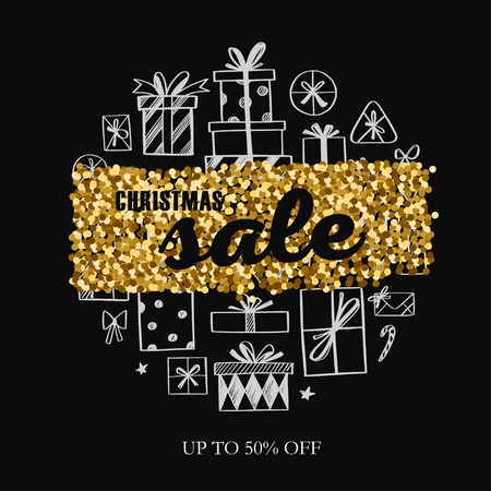 Christmas and New Year vector Sale banner, posters, header. 写真素材 - 127057556