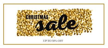 Christmas and New Year vector Sale banner. Concept with presents and gold glitter 写真素材