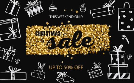 Christmas and New Year vector Sale banner, posters, header. 写真素材 - 127057561