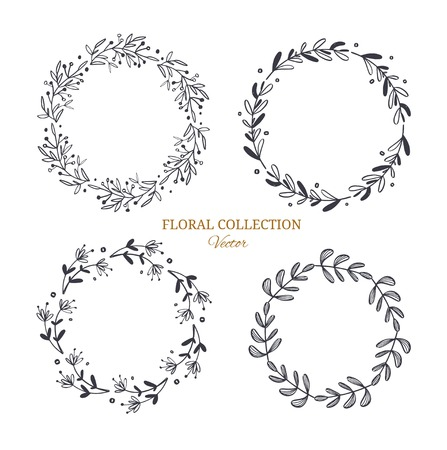 Herbal tea and floral doodle set. Vector hand drawn botanical illustration with decorative wreath. Isolated objects on white