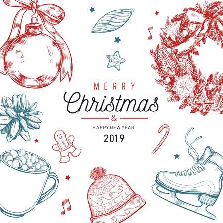 Cartel de vector de Navidad y año nuevo, banner, fondo con elementos vintage dibujados a mano corona de Navidad, cono de pino y otra decoración. Tarjeta de felicitación, encabezado, portada para menú Ilustración de vector