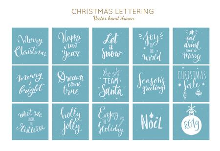 Christmas and New Year Hand drawn vector typography posters set. Conceptual hanwritten festive phrases, lettering, sayings. T shirt. Inspirational quotes 写真素材 - 127024750