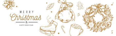 Christmas and New Year vector banner, background with vintage hand drawn elements