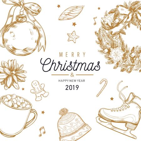 Christmas and New Year vector poster, banner, background with vintage hand drawn elements