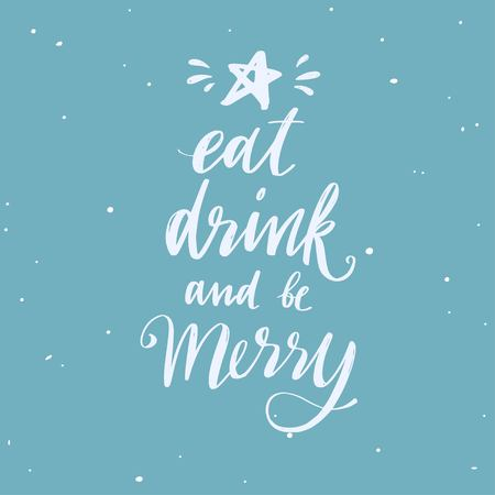 Merry Christmas and New Year words . Vector handwritten Typography poster Lettering Let It snow 写真素材