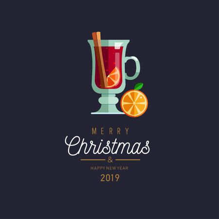 Merry Christmas and New Year vector greeting card with Mulled wine 写真素材