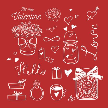 Happy Valentines day vector doodle set. Handwritten Lettering . Isolated objects 写真素材 - 125734003