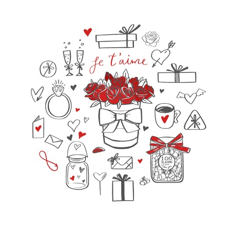 Happy Valentines day vector doodle set. Handwritten Lettering . Isolated objects 写真素材 - 125734009